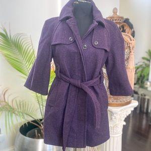 Gap purple wool pea coat with belt for women